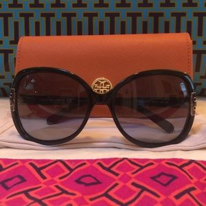 Tory Burch Black Oversized Logo Sunglasses & Case